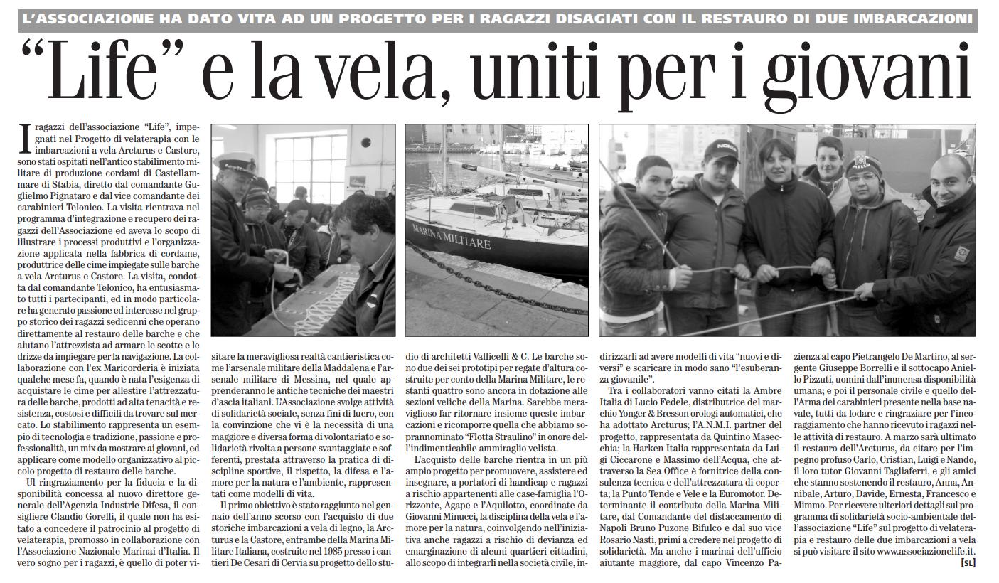 sul roma 3 febbraio 2008 life e la vela uniti per i giovani